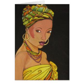 African Woman in Yellow Dress (K.Turnbull Art) Card