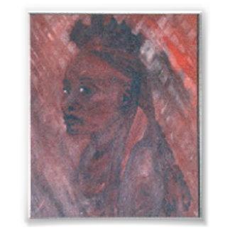 African Woman Oil Print Photograph