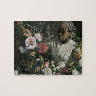 African Woman Peonies by Bazille, Vintage Flowers Jigsaw Puzzle