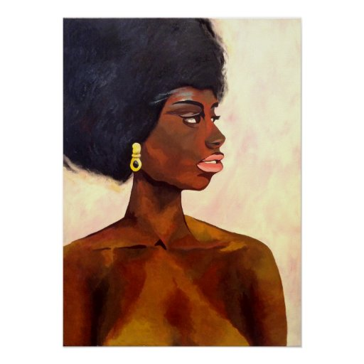 African Woman portrait of June (K.Turnbull Art) Poster