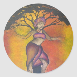 African Woman Round Sticker