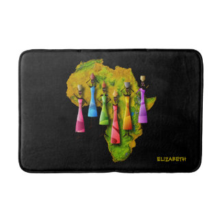 African Women In Colorful Dresses On Africa Map Bath Mat