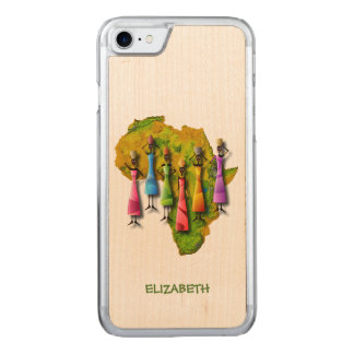 African Women In Colorful Dresses On Africa Map Carved iPhone 7 Case