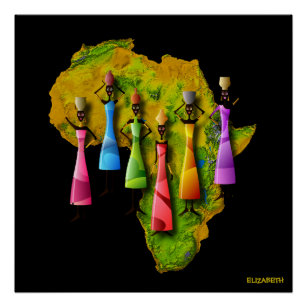 African Women In Colourful Dresses On Africa Map Poster