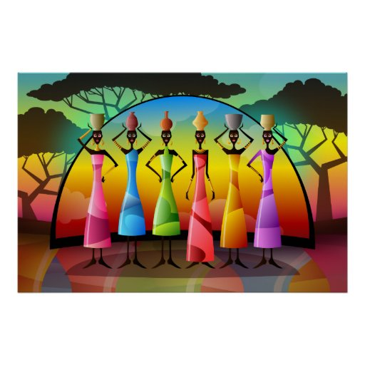 African Women With Vessels Print