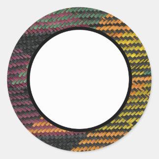 African Woven Straw Mat Round Sticker