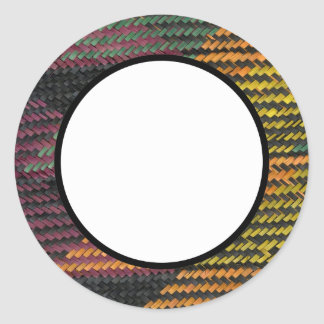 African Woven Straw Mat Classic Round Sticker