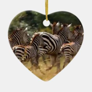 African Zebra cool stuff Hakuna Matata Gift Double-Sided Heart Ceramic Christmas Ornament