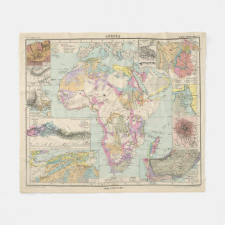 Afrika - Atlas Map of Africa Fleece Blanket