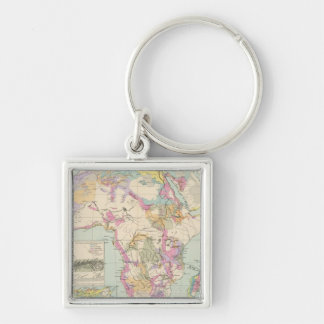 Afrika - Atlas Map of Africa Silver-Colored Square Key Ring