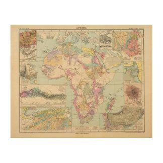 Afrika - Atlas Map of Africa Wood Print