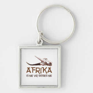 Afrika is nie vir sissies: Africa Springbok skull Silver-Colored Square Key Ring