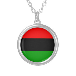 afro american flag afro-american silver plated necklace