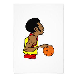 Afro Basketball Player Custom Invitation