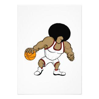 Afro basktball player custom invitations