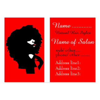 Afro chic natural hair illustration pack of chubby business cards