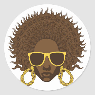 Afro Cool Round Sticker