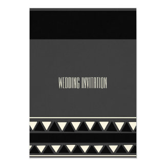 Afro-design black/grey wedding invitation card