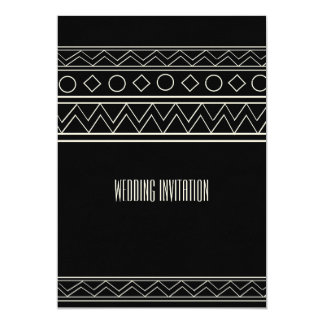 Afro-design black/white wedding invitation card 13 cm x 18 cm invitation card