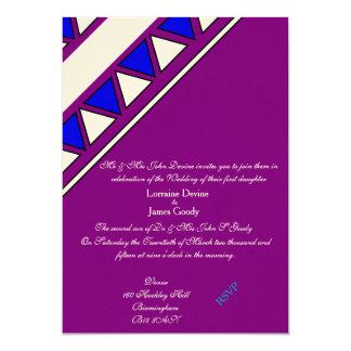 Afro-design blue/purple wedding invitation card