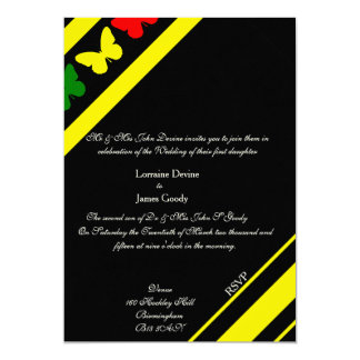 Afro-design butterflies wedding invitation card 13 cm x 18 cm invitation card