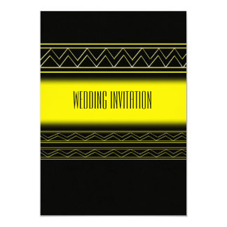 Afro-design gold/black wedding invitation card 13 cm x 18 cm invitation card