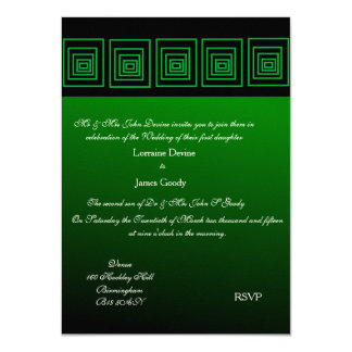 Afro-design green square wedding invitation card 11 cm x 16 cm invitation card