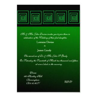 Afro-design green square wedding invitation card