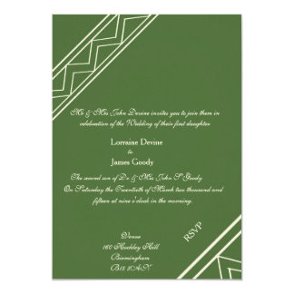 Afro-design green/white wedding invitation card 13 cm x 18 cm invitation card