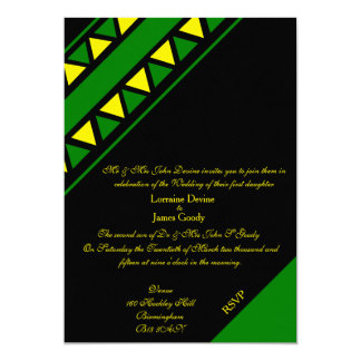 Afro-design green/yellow wedding invitation card