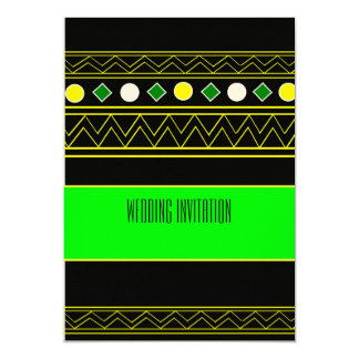 Afro-design neon green/blk wedding invitation card 13 cm x 18 cm invitation card