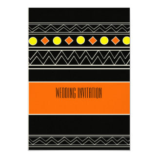 Afro-design orange/black wedding invitation card 13 cm x 18 cm invitation card