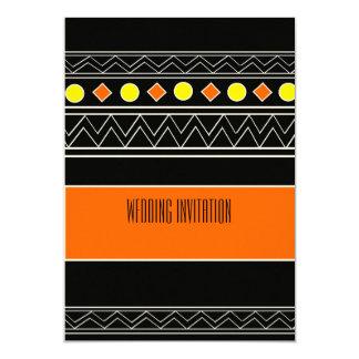 Afro-design orange/black wedding invitation card