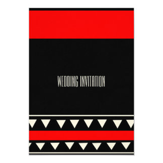 Afro-design red/black wedding invitation card 13 cm x 18 cm invitation card