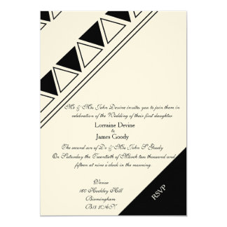 Afro-design white/black wedding invitation card 13 cm x 18 cm invitation card