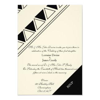 Afro-design white/black wedding invitation card