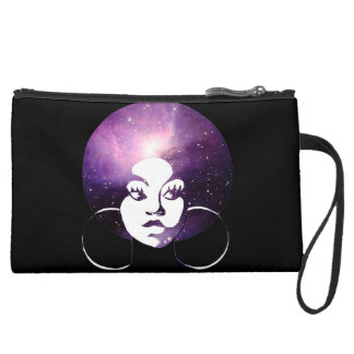 Afro Diva Purple Galaxy & Black Wristlet