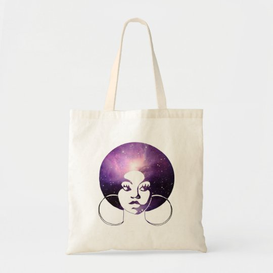 Afro Diva Purple Galaxy Budget Tote