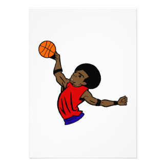 Afro dude basketball personalized invites