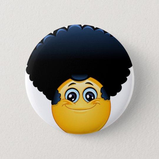 afro emoji 6 cm round badge
