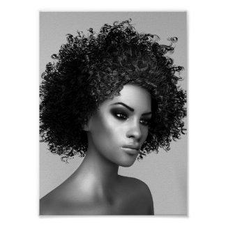 Afro Hair 3D Illustration Poster