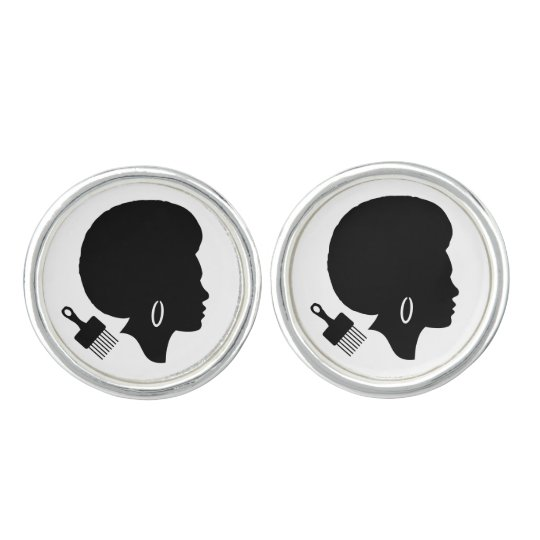 AFRO HAIR DESIGN Round Cufflinks