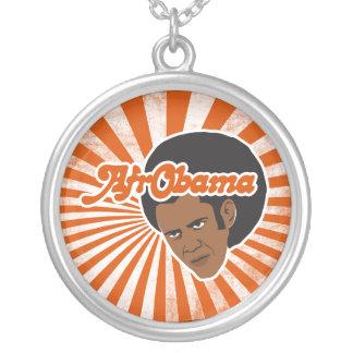 Afro Obama Round Pendant Necklace