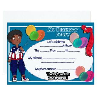 Afro prince! Happy birthday card in english 13 Cm X 18 Cm Invitation Card