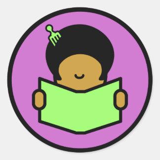 Afro Reader Round Sticker