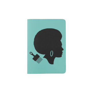 AFRO WOMAN SILHOUETTE Passport Holder