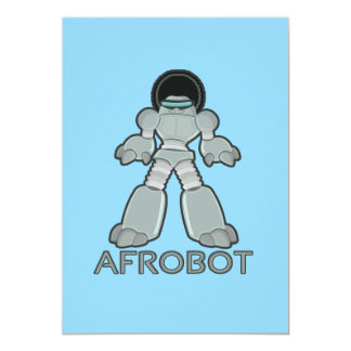Afrobot - Robot with Afro 13 Cm X 18 Cm Invitation Card