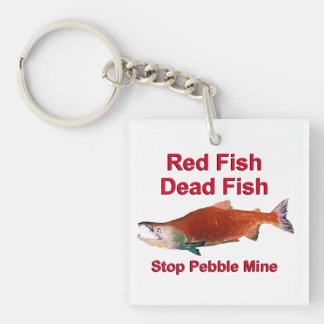 After Salmon - Stop Pebble Mine Square Acrylic Keychain