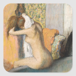 After the Bath, Woman Drying her Neck, 1898 Square Sticker