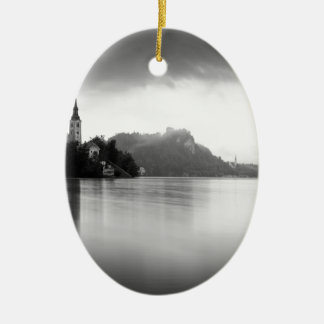 After the rain at Lake Bled Ceramic Oval Decoration